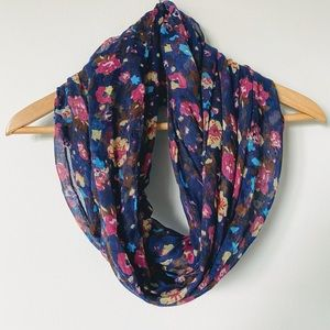 EUC Navy Blue Floral infinity scarf